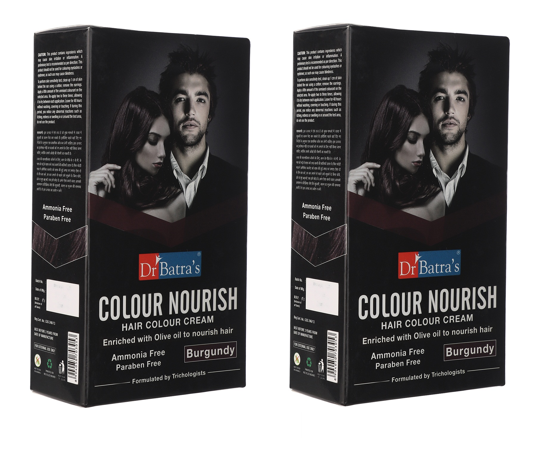 Dr Batra's | Dr Batra's Colour Nourish Hair Ammonia, Paraben Free Colour Cream Enriched With Olive Oil to Nourish Hair Burgundy - 120 gm (Pack of 2)