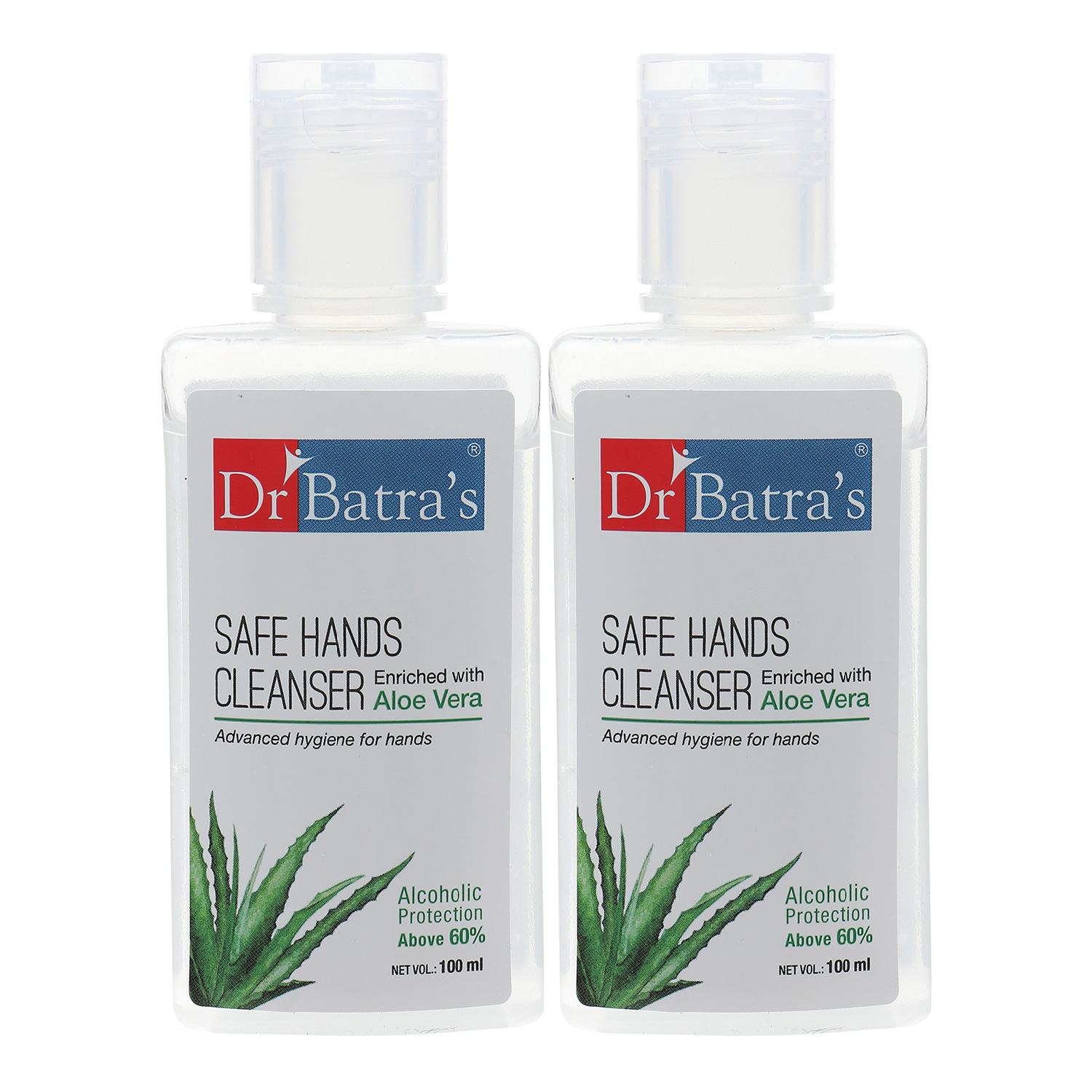 Dr Batra's   Dr Batra's Safe Hands Cleanser Enriched With Aloe vera Alcoholic Protection above 60% Stay Home, Stay Safe- 100 ml (Pack of 2)
