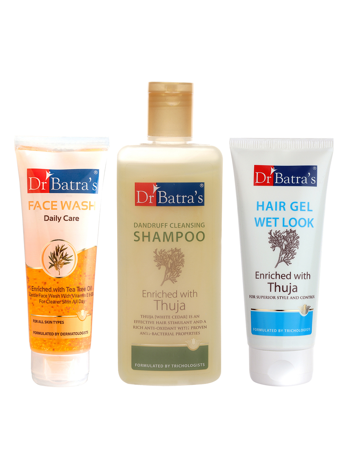 Dr Batra's | Dr Batra's Dandruff Cleansing Shampoo - 200 ml, Hair Gel - 100 gm and Face Wash Daily Care - 100 gm (Pack of 3 for Men)