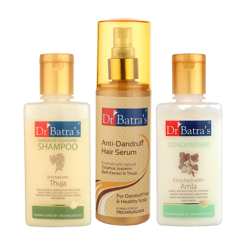Dr Batra's | Dr Batra's Dandruff cleansing Shampoo 100 ml, Conditioner 100 ml and Anti Dandruff Hair Serum 125ml (Pack of 3 Men and Women)
