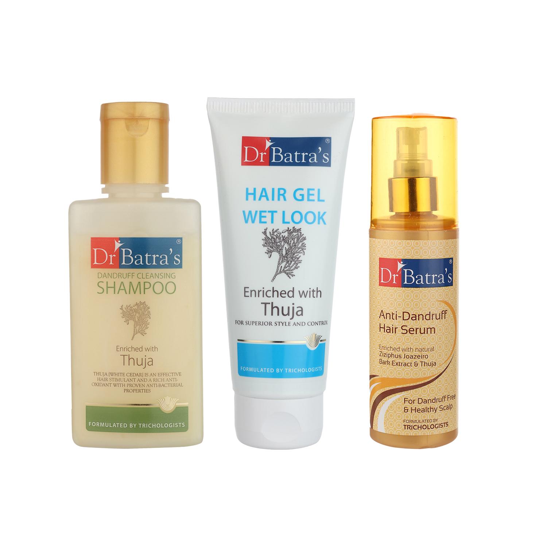 Dr Batra's | Dr Batra's Dandruff Cleansing Shampoo - 100 ml, Hair Gel - 100 gm and Anti Dandruff Hair Serum (Pack of 3 For Men)