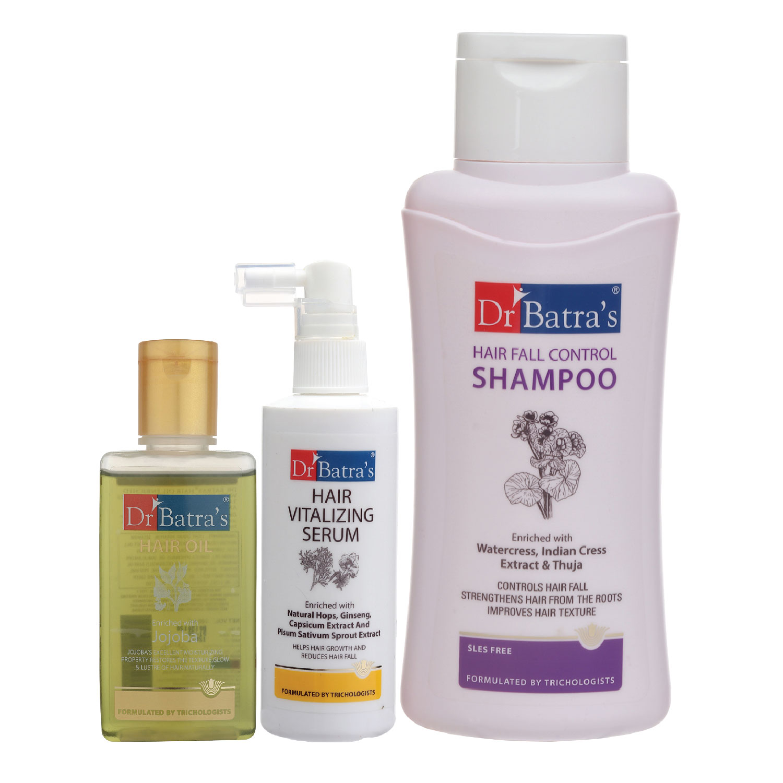 Dr Batra's | Dr Batra's Hair Vitalizing Serum 125 ml, Hair Fall Control Shampoo - 500 ml and Hair Oil - 100 ml