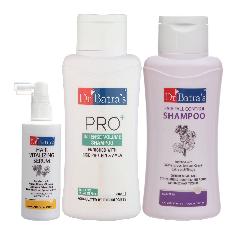 Dr Batra's | Dr Batra's Hair Vitalizing Serum 125 ml, Hair Fall Control Shampoo - 500 ml and Pro+ Intense Volume Shampoo - 500 ml
