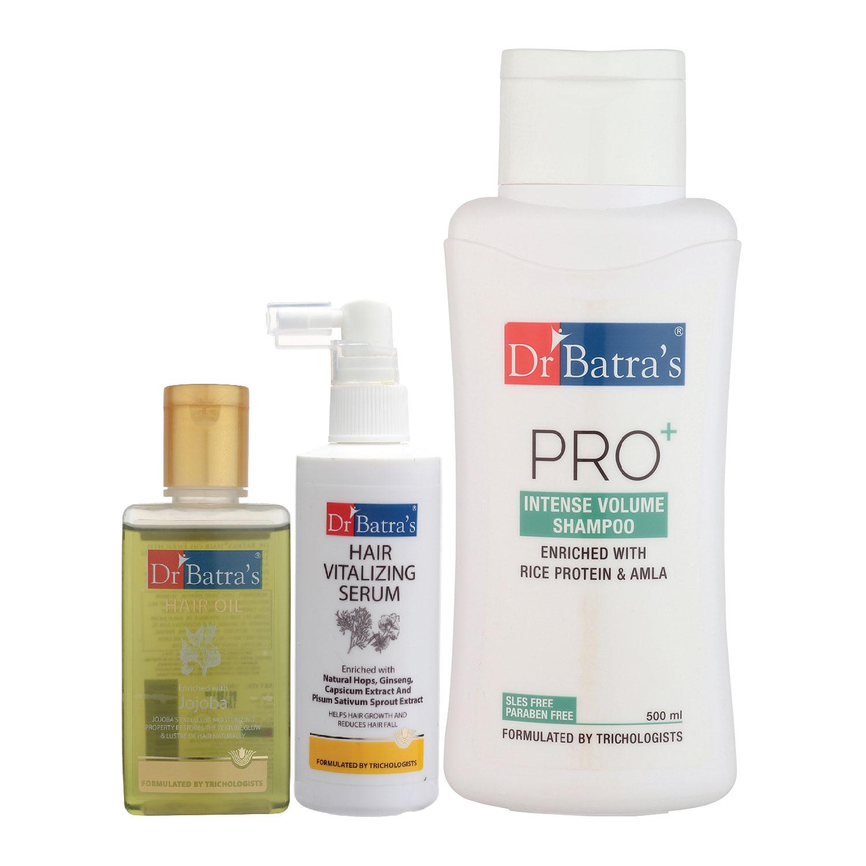 Dr Batra's | Dr Batra's Hair Vitalizing Serum 125 ml, Pro+ Intense Volume Shampoo - 500 ml and Hair Oil - 100 ml