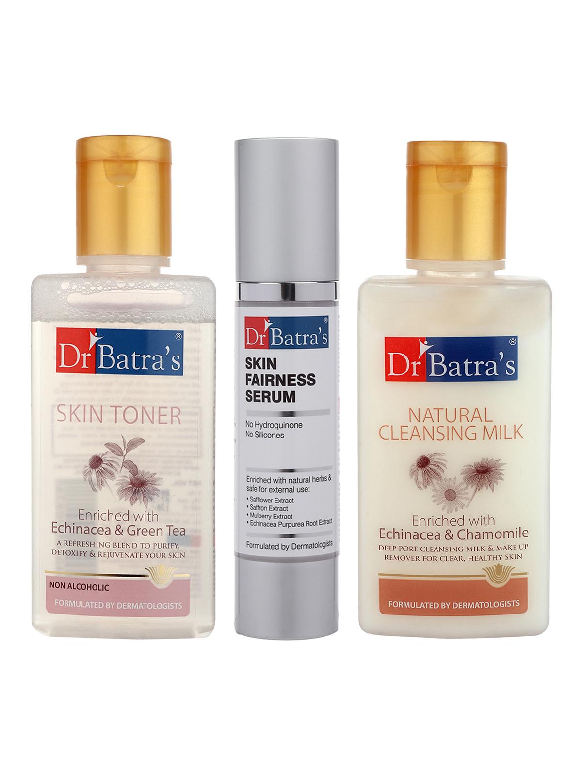 Dr Batra's | Dr Batra's Skin Toner - 100 ml, Natural Cleansing Milk - 100 ml and Skin Fairness Serum - 50 g (Pack of 3 for Men and Women)