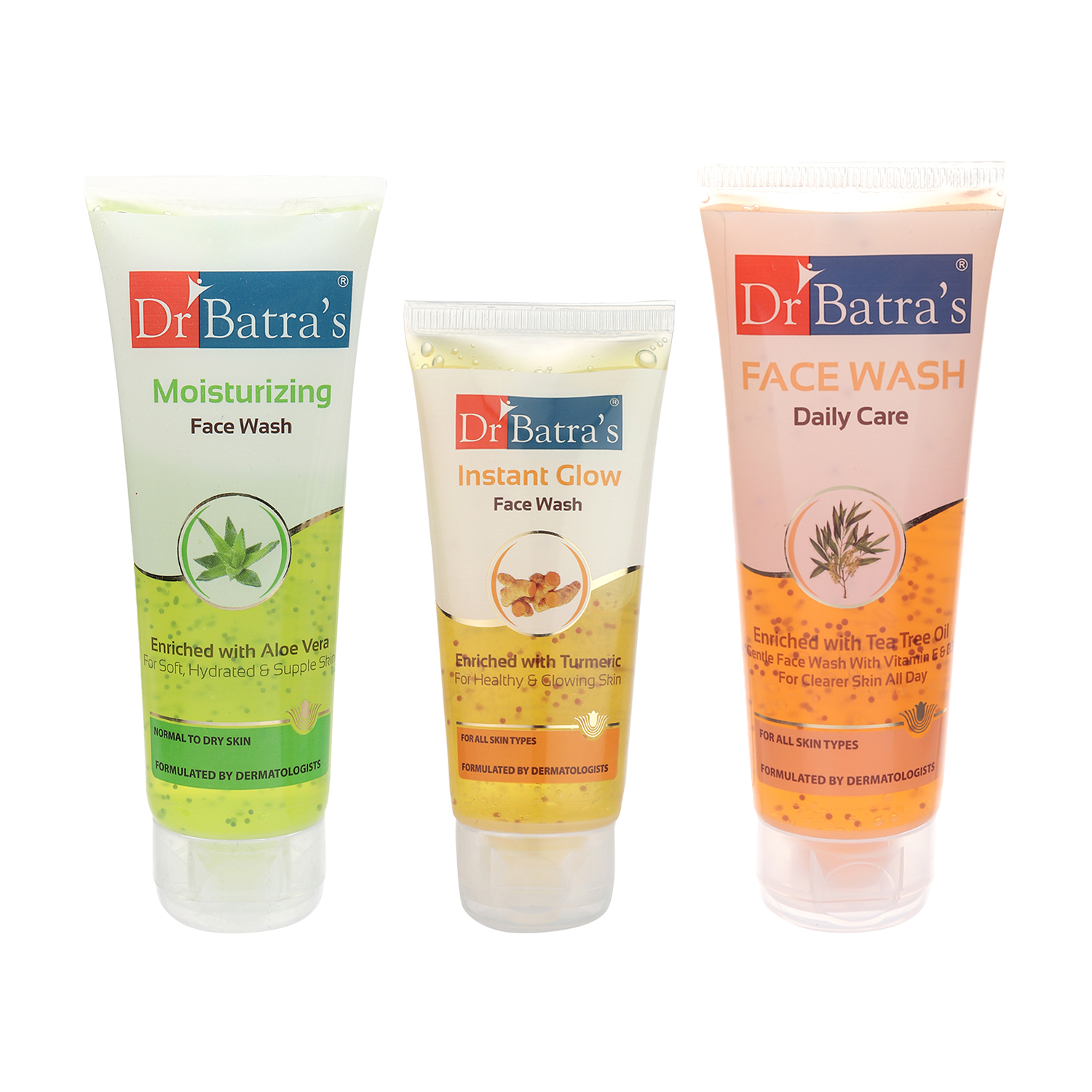 Dr Batra's | Dr Batra's Face Wash Daily Care - 100 gm, Face Wash Moisturizing - 100 gm and Face Wash Instant Glow - 50 gm ( Pack of 3 for Men and Women)