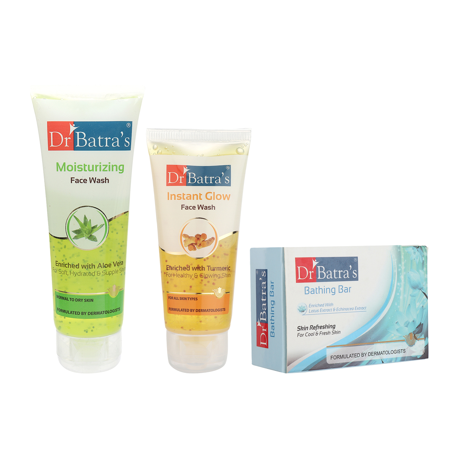 Dr Batra's | Dr Batra's Face Wash Moisturizing - 100 gm, Face Wash Instant Glow - 50 gm and Skin Refreshing Bathing Bar - 125 gm (Pack of 3 for Men and Women)