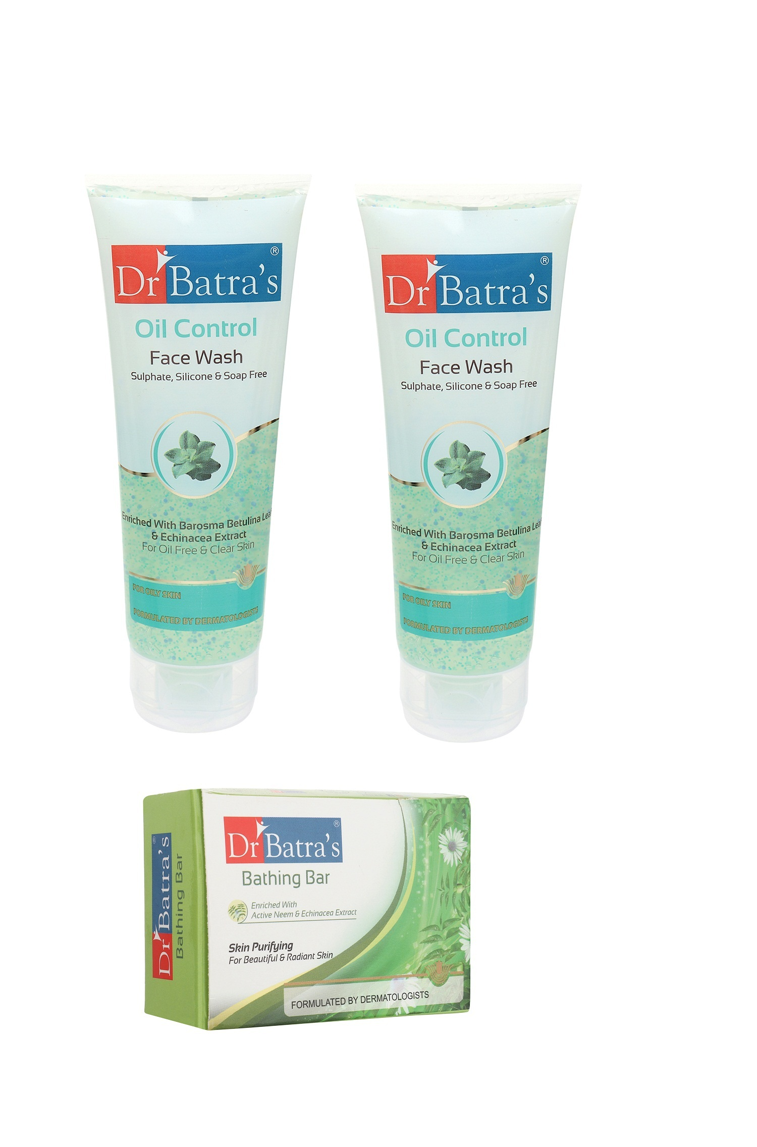 Dr Batra's | Dr Batra's Face Wash Oil Control - 100 gm And Skin Purifying Bathing Bar - 125 gm (Pack of 3 for Men and Women)