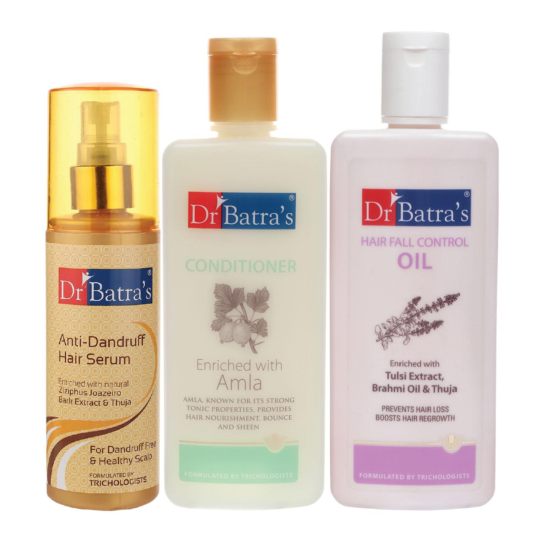 Dr Batra's | Dr Batra's Anti Dandruff Hair Serum, Conditioner - 200 ml and Hair Fall Control Oil- 200 ml