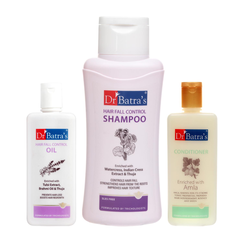 Dr Batra's | Dr Batra's Hair Fall Control Shampoo 500 ml Conditioner 200 ml and Hair Fall Control Oil 200 ml (Pack of 3 Men and Women)