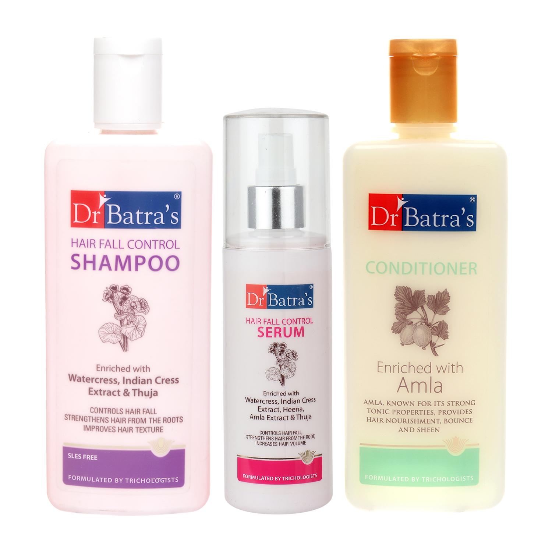 Dr Batra's | Dr Batra's Hair Fall Control Shampoo 200ml, Conditioner 200 ml and Hair Fall Control Serum 125 ml (Pack of 3 Men and Women)