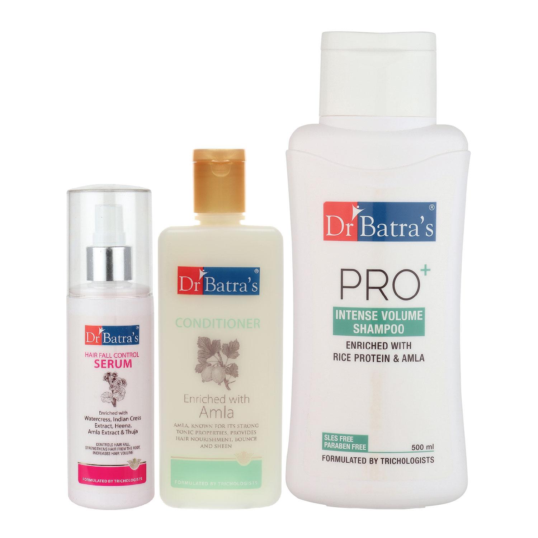 Dr Batra's   Dr Batra's Hair Fall Control Serum-125 ml, Conditioner - 200 ml and Pro+ Intense Volume Shampoo - 500 ml