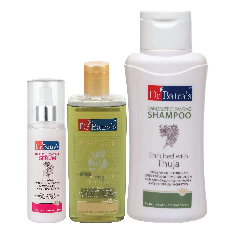 Dr Batra's | Dr Batra's Hair Fall Control Serum-125 ml, Dandruff Cleansing Shampoo - 500 ml and Hair Oil - 200 ml