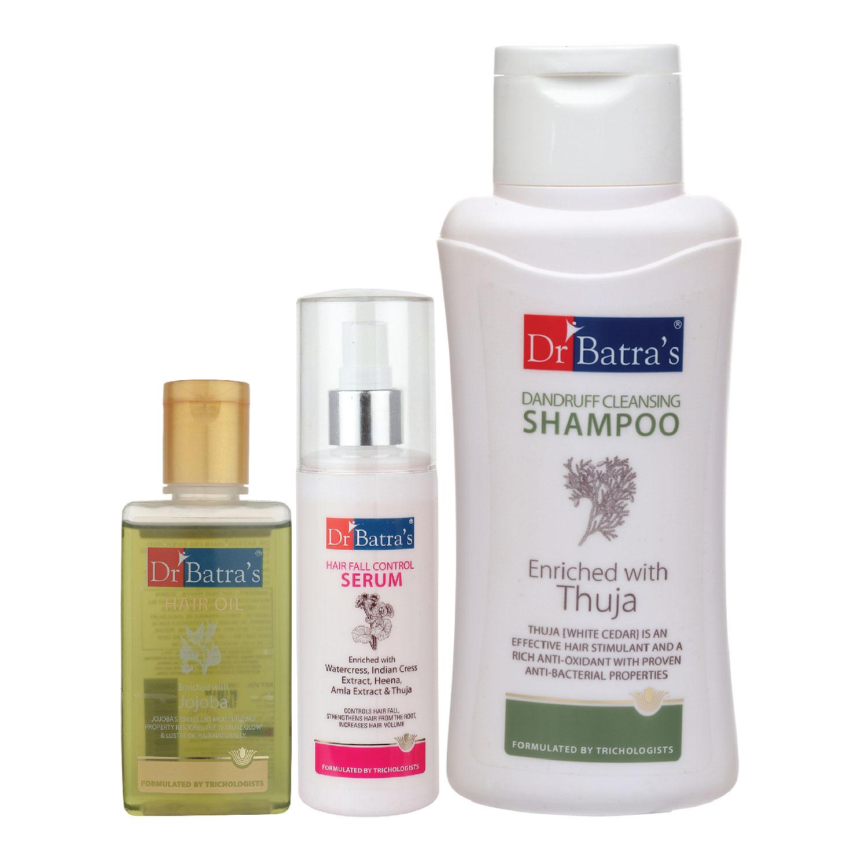 Dr Batra's | Dr Batra's Hair Fall Control Serum-125 ml, Dandruff Cleansing Shampoo - 500 ml and Hair Oil - 100 ml