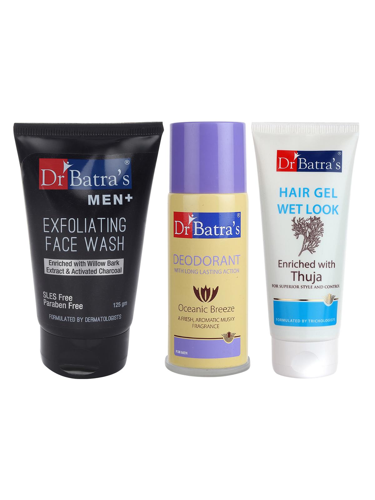 Dr Batra's | Dr Batra's Men Exfoliating Face Wash - 125 g, Deo For Men 100GM and Hair Gel - 100 gm. (Pack of 3 For Men)