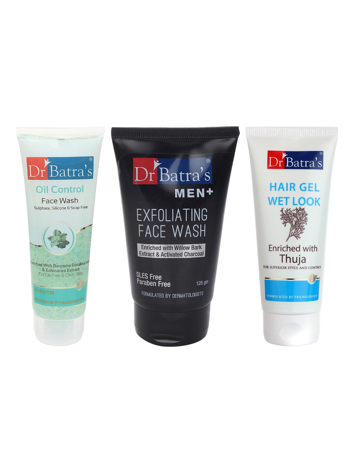 Dr Batra's | Dr Batra's Men Exfoliating Face Wash - 125 g, Hair Gel - 100 gm and Face Wash Oil Control - 100 gm (Pack of 3 for Men)