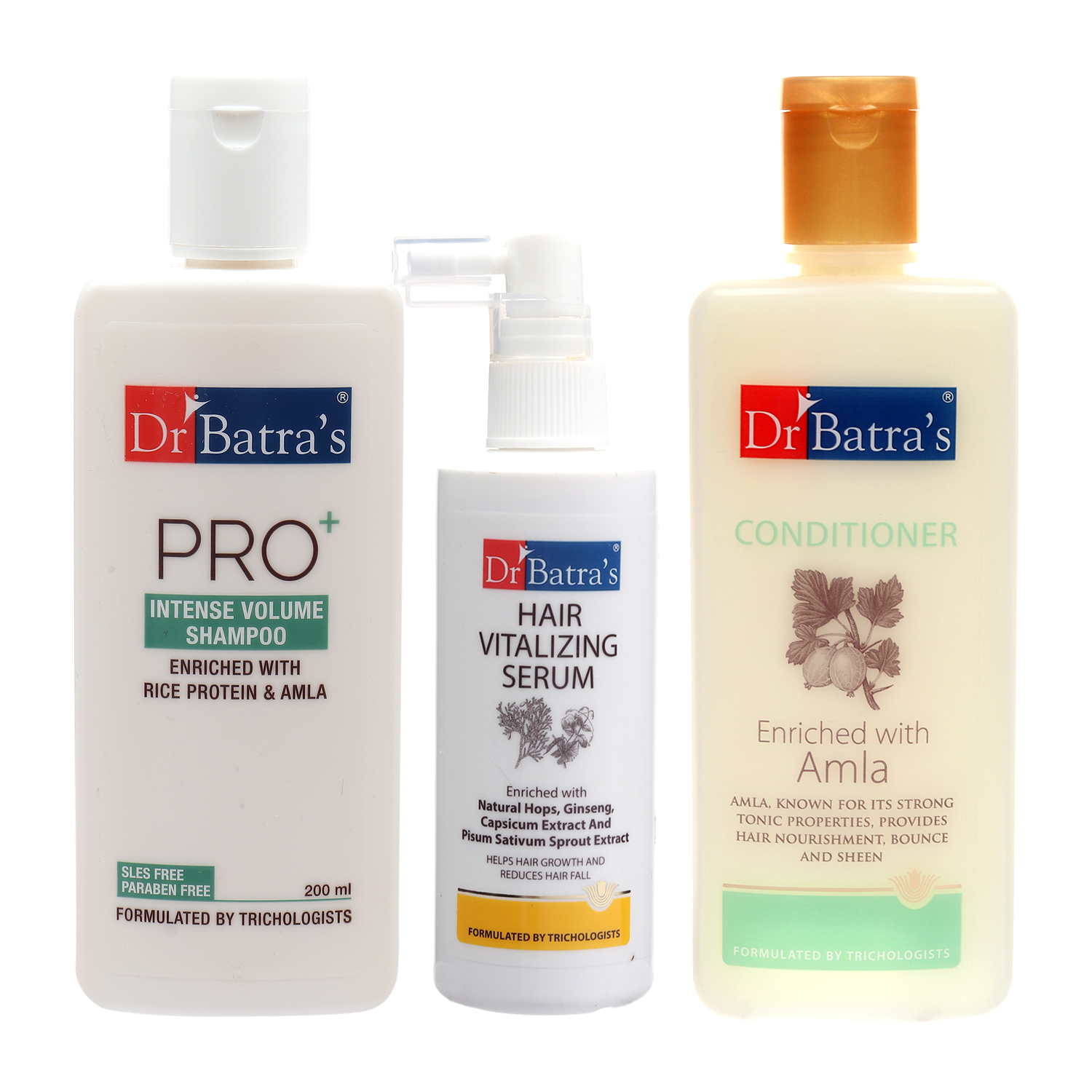 Dr Batra's | Dr Batra's Pro+Intense Volume Shampoo 200ml, Conditioner 200 ml and Hair Vitalizing Serum 125 ml (Pack of 3 Men and Women)