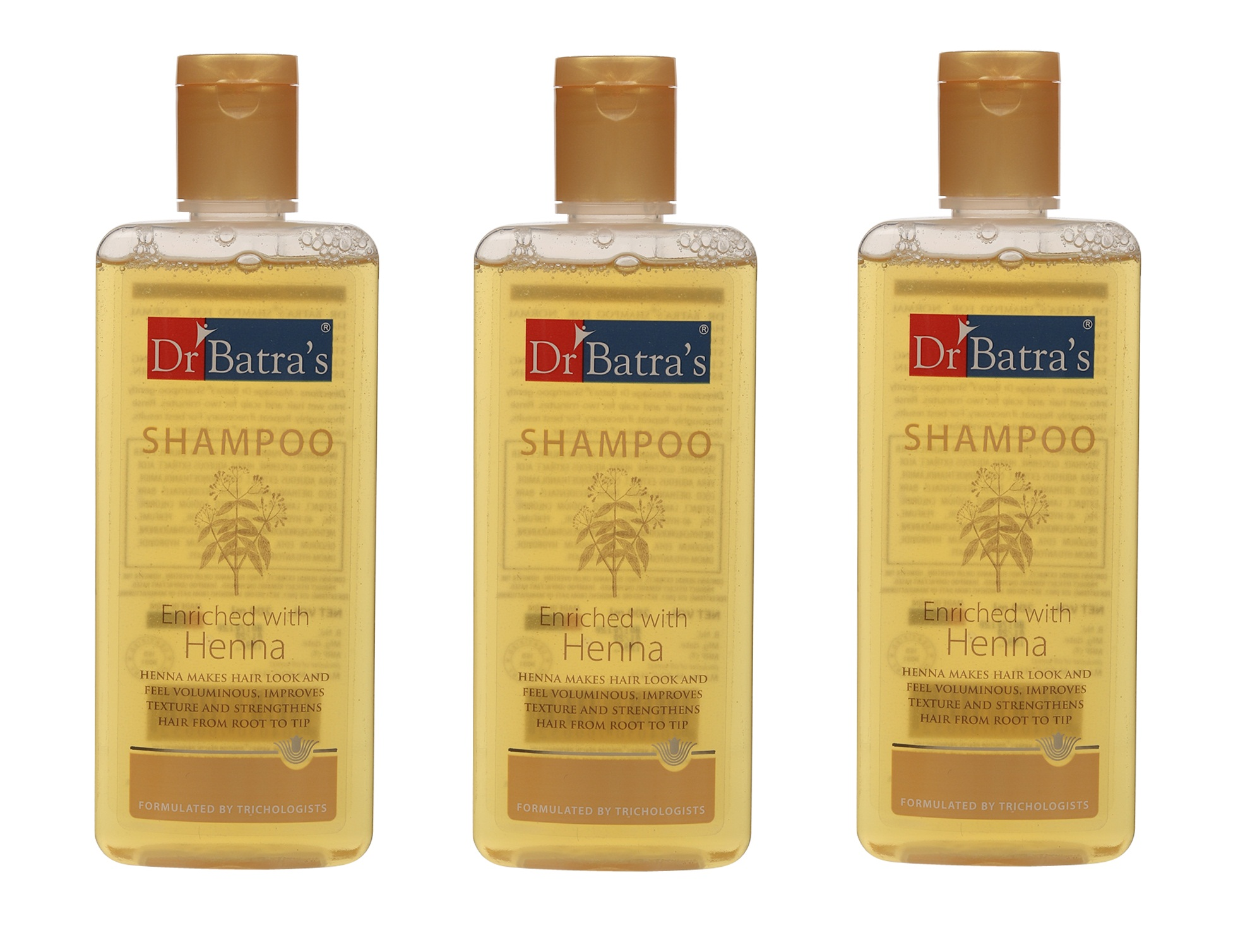 Dr Batra's   Dr Batra's Shampoo Enriched With Henna - 200 ml (Pack of 3)