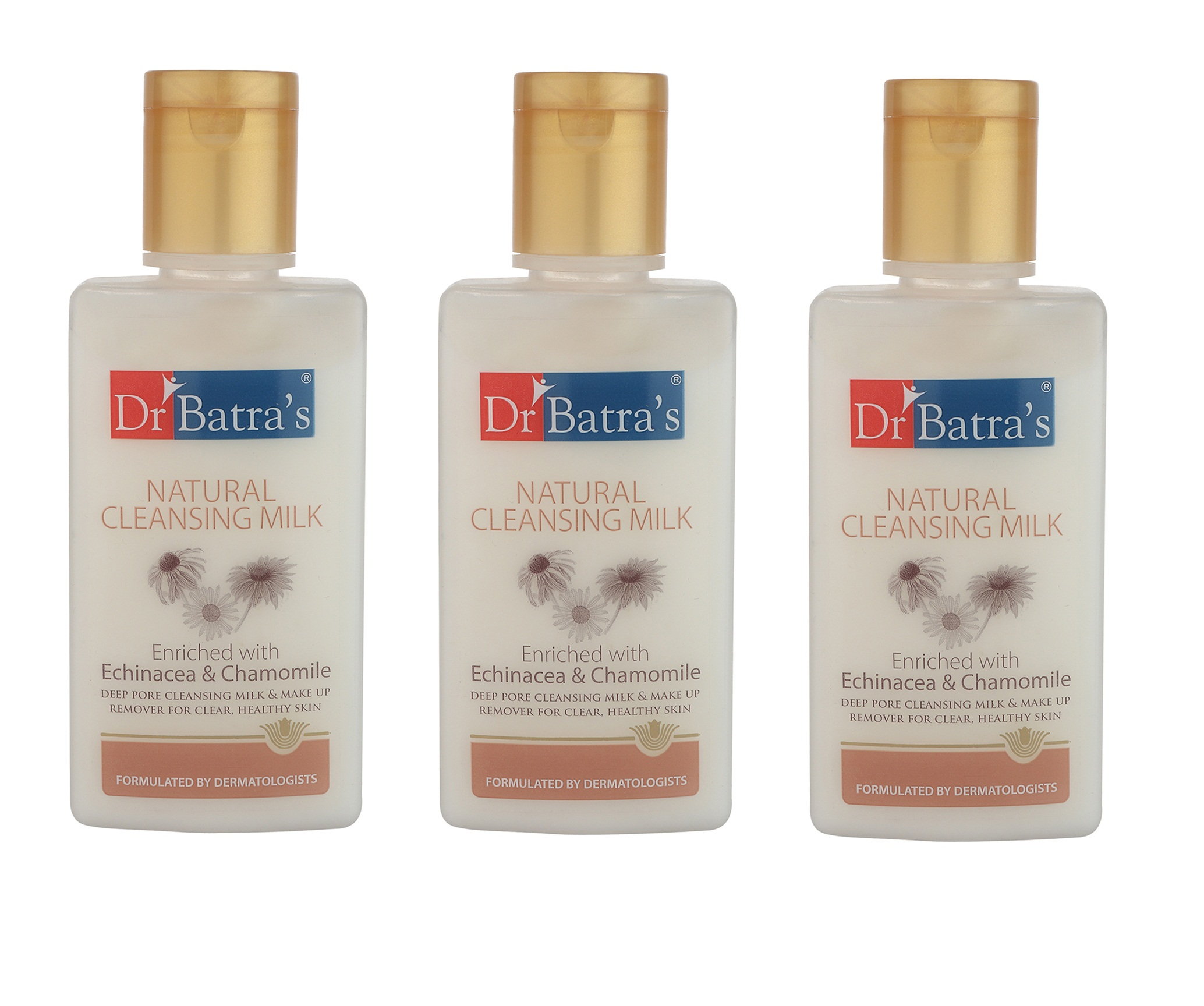 Dr Batra's | Dr Batra's Natural Cleansing Milk Enriched With Echinacea & Chamomile - 100 ml (Pack of 3)