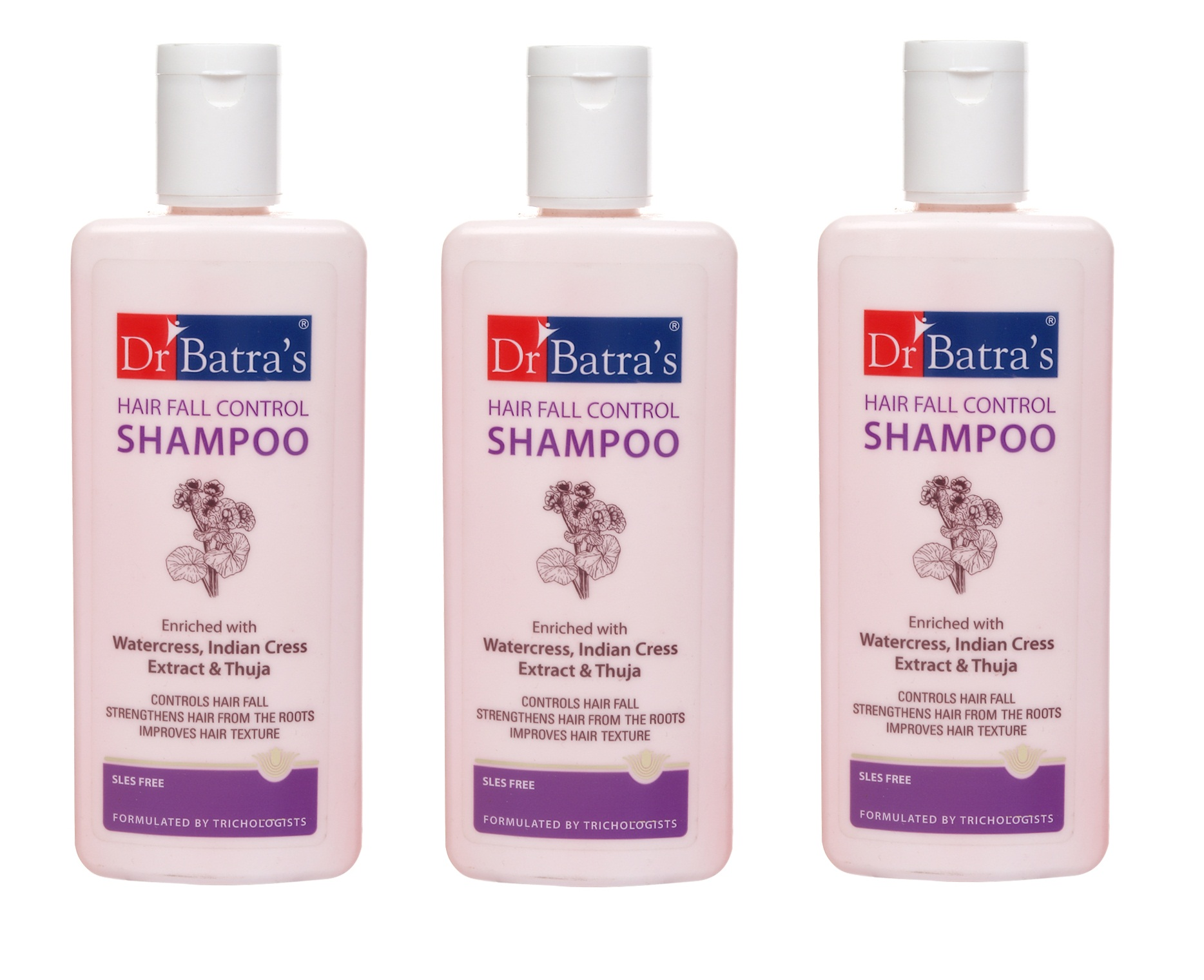 Dr Batra's | Dr Batra's Hair Fall Control Shampoo Enriched With Watercress, Indian Cress extract and Thuja - 200 ml (Pack of 3)