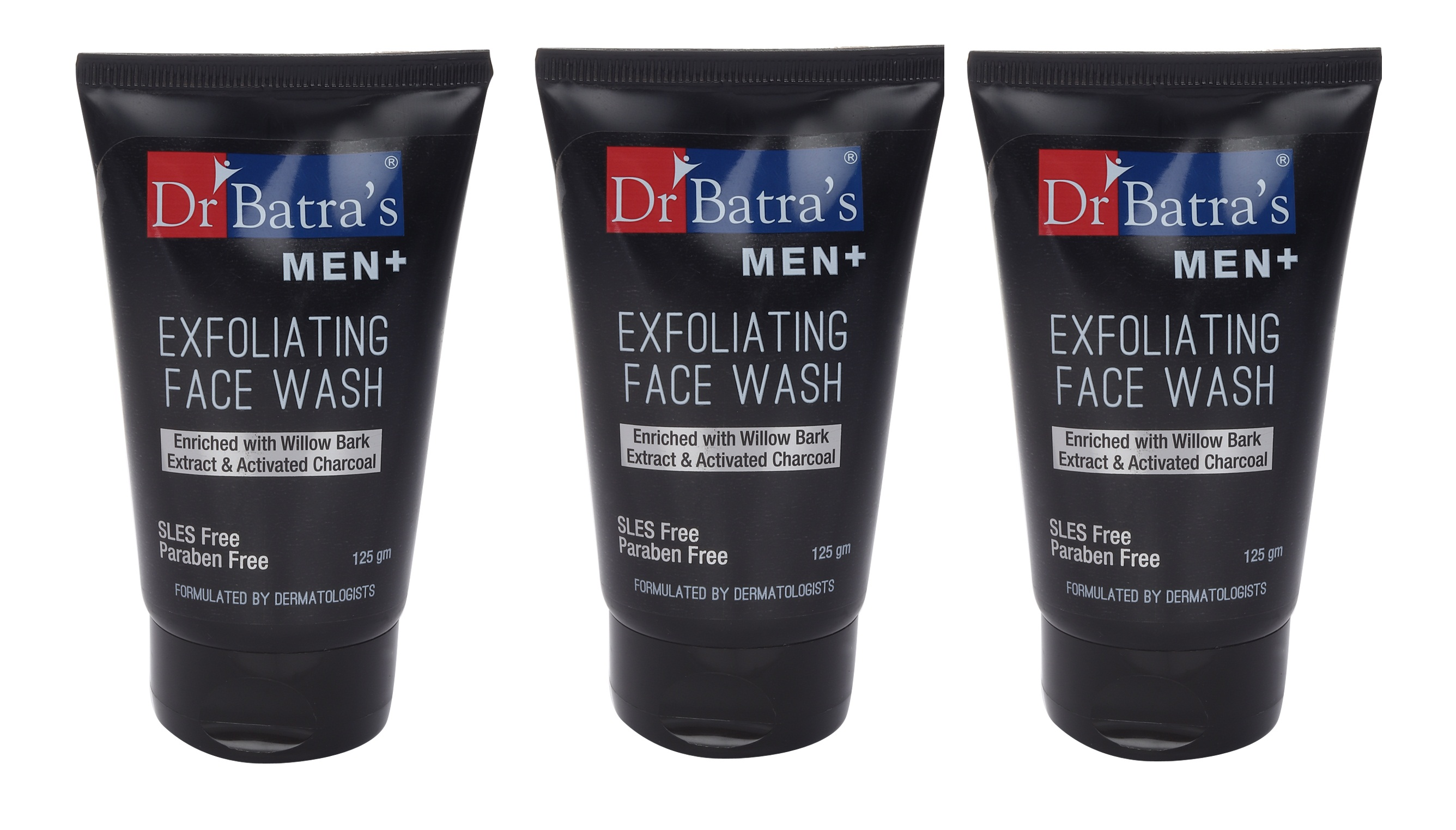 Dr Batra's | Dr Batra's Men+ Exfoliating Face Wash Enriched With Willow Black Extract & Activated Charcoal - 125 ml (Pack of 3)