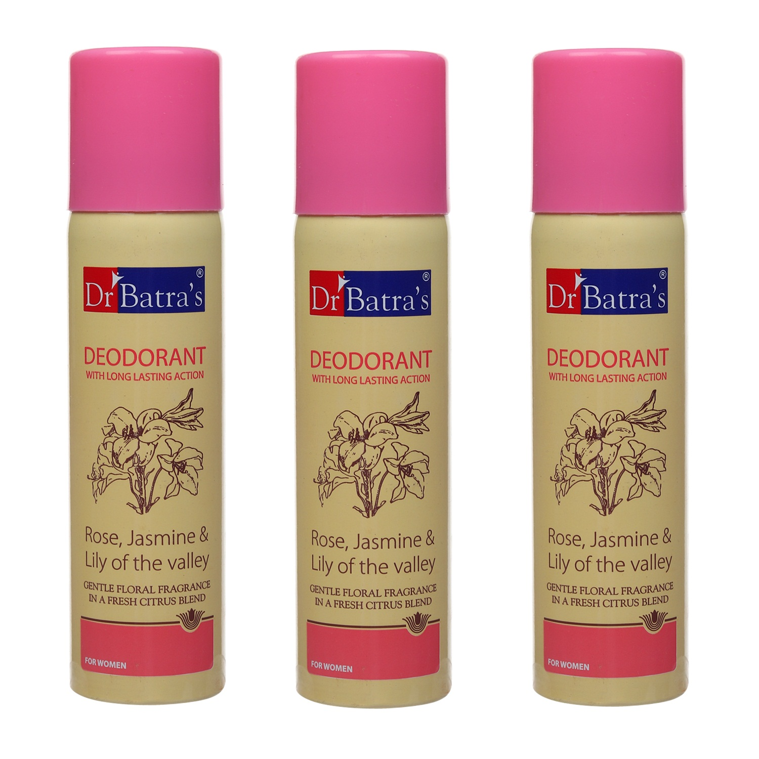 Dr Batra's | Dr Batra's Deodarant With Long Lasting Action Rose, Jasmine & Lily Of The Valley - 100 gm (Pack of 3)