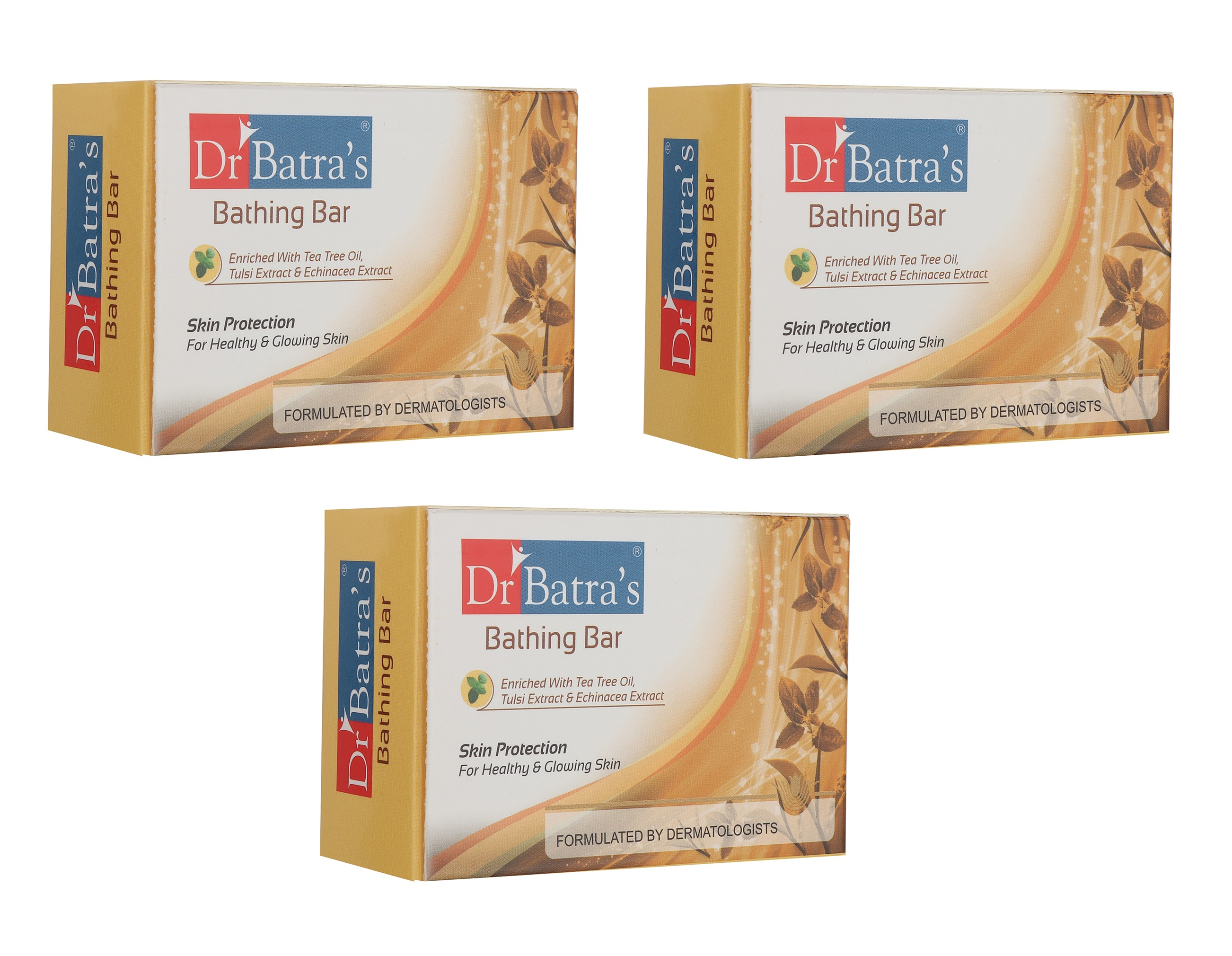 Dr Batra's | Dr Batra's Bathing Bar Skin Protection For Healthy & Glowing Skin Enriched With Tea Tree Oil, Tulsi Extract & Echinacea Extract - 125 gm (Pack of 3)