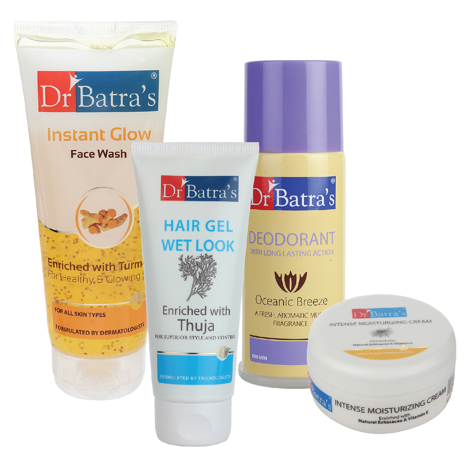 Dr Batra's | Dr Batra's Hair Gel - 100 gm, Instant Glow Face Wash 200 gm, Deo For Men-100 gm and Intense Moisturizing Cream -100 G (Pack Of 4 For Men)