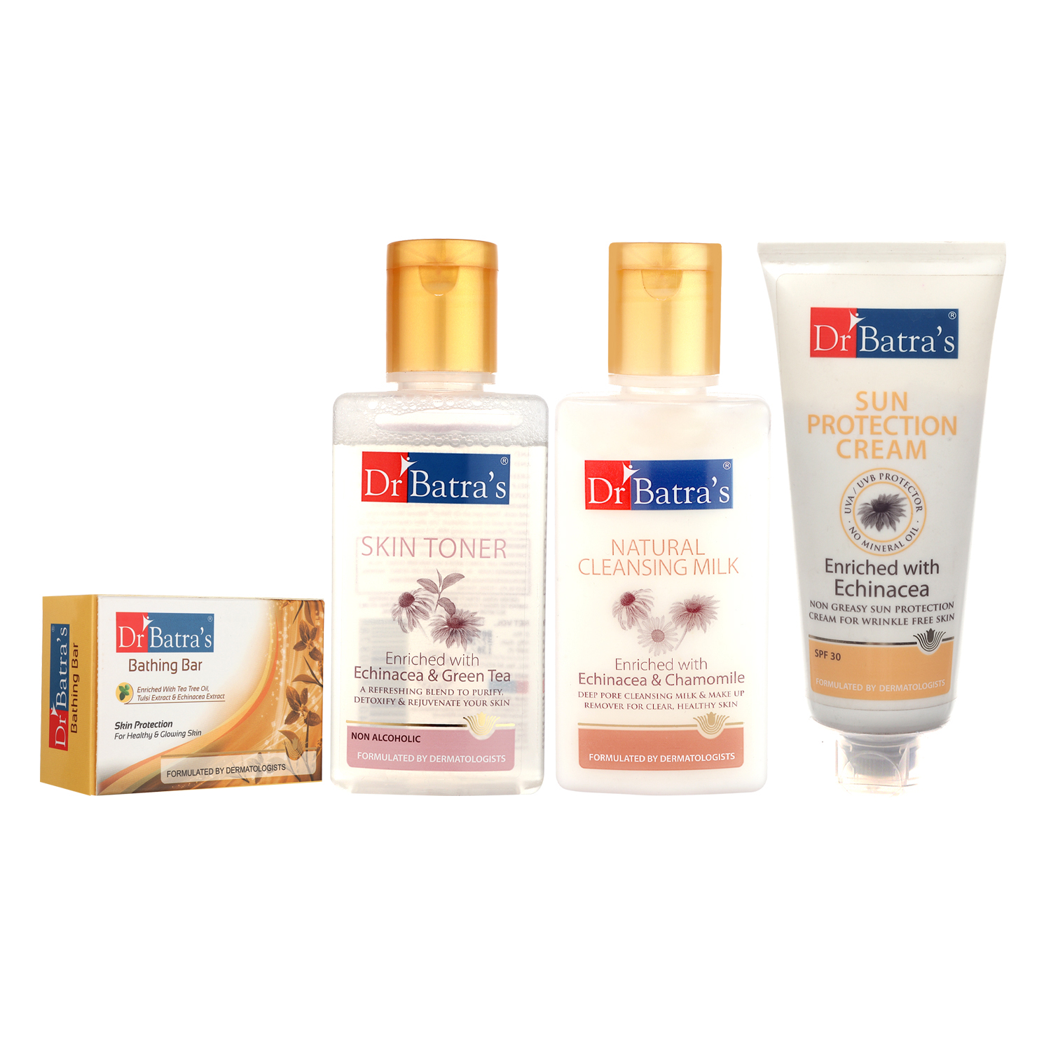 Dr Batra's | Dr Batra's Skin Toner 100ml, Natural Cleansing Milk 100 ml, Sun Protection Cream 100 ml and Skin Protection Bathing Bar 125G (Pack of 4 Men and Women)