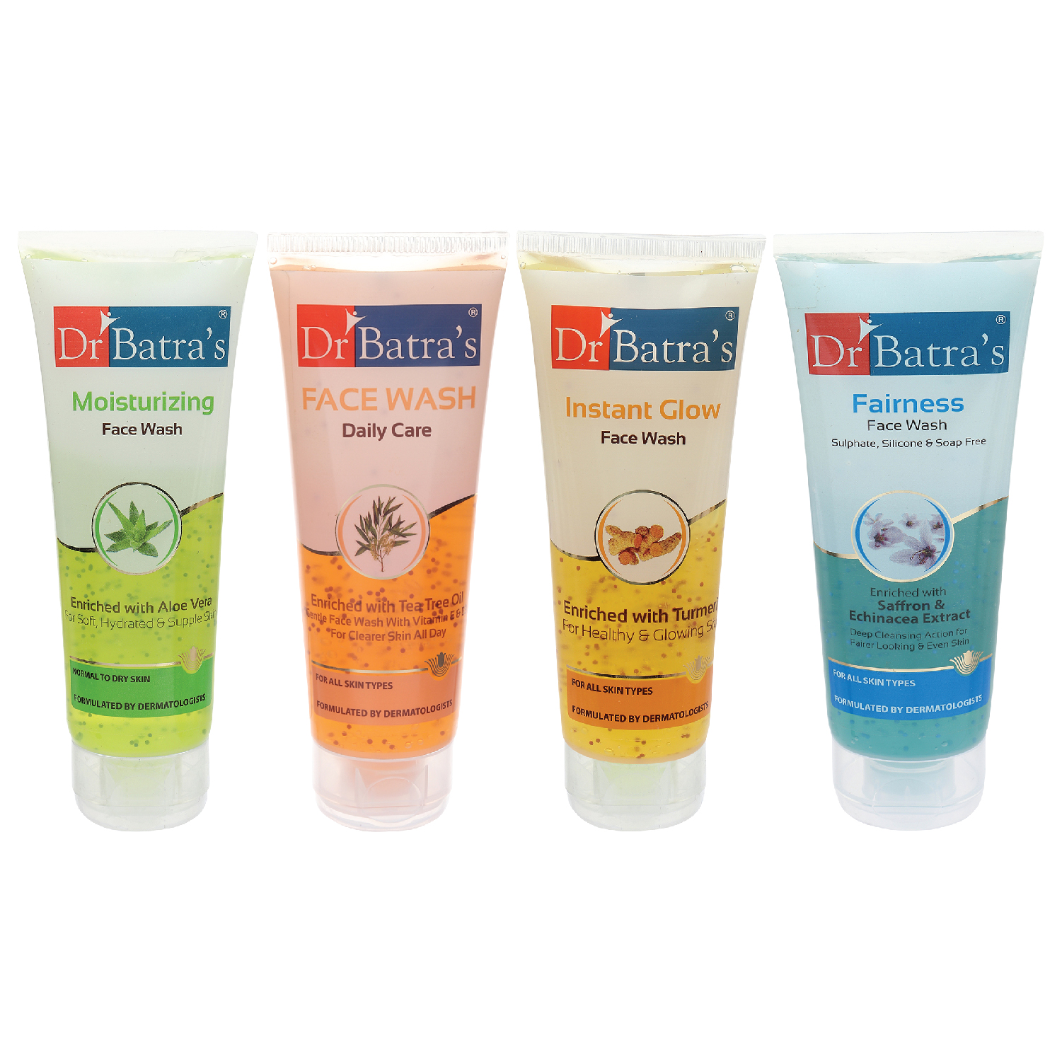Dr Batra's | Dr Batra's Face Wash Daily Care - 100 gm, Face Wash Moisturizing - 100 gm, Face Wash Instant Glow - 100 gm and Fairness Face Wash 100 gm ( Pack Of 4 For Men And Women)