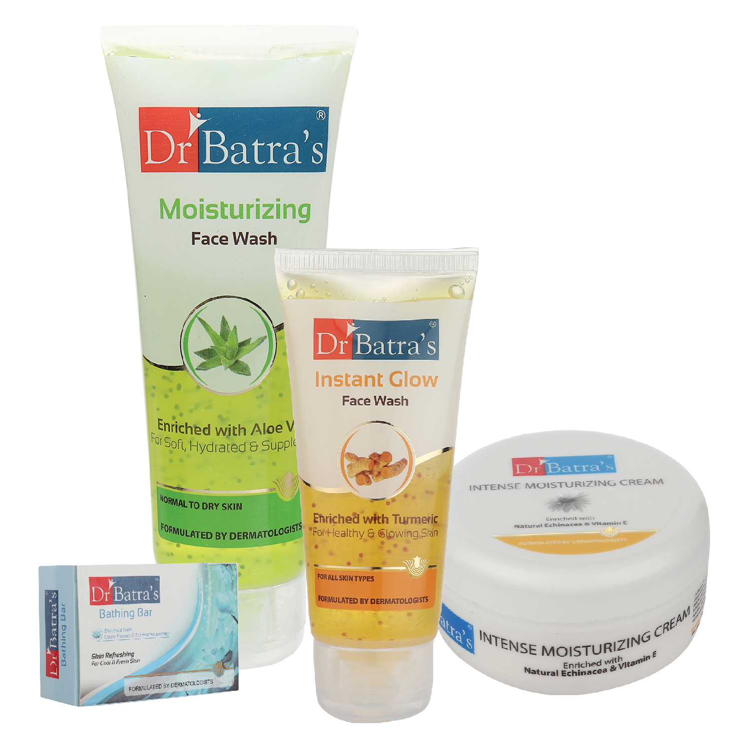 Dr Batra's | Dr Batra's Face Wash Moisturizing - 100 gm, Face Wash Instant Glow - 50 gm, Skin Refreshing Bathing Bar - 125 gm and Intense Moisturizing Cream -100 G (Pack Of 4 For Men And Women)