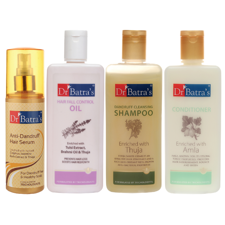 Dr Batra's | Dr Batra's Anti Dandruff Hair Serum, Conditioner - 200 ml, Hair Fall Control Oil- 200 ml and Dandruff Cleansing Shampoo - 200 ml