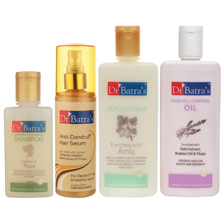Dr Batra's | Dr Batra's Anti Dandruff Hair Serum, Conditioner - 200 ml, Hair Fall Control Oil- 200 ml and Dandruff Cleansing Shampoo - 100 ml