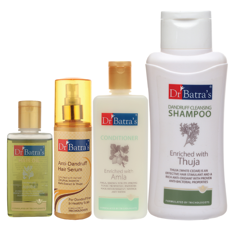 Dr Batra's | Dr Batra's Anti Dandruff Hair Serum, Conditioner - 200 ml, Hair Oil - 100 ml and Dandruff Cleansing Shampoo - 500 ml