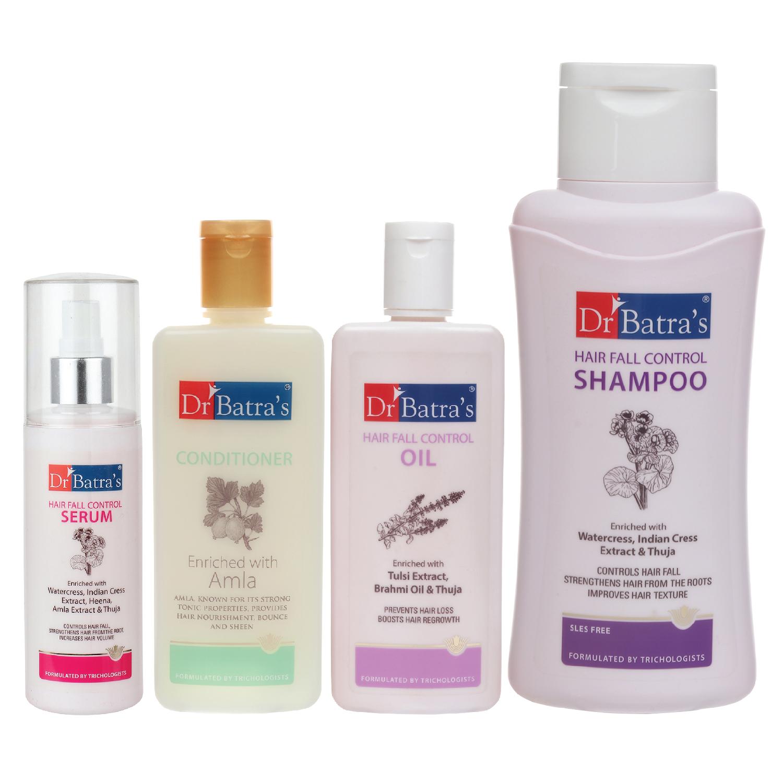 Dr Batra's | Dr Batra's Hair Fall Control Serum-125 ml, Conditioner - 200 ml, Hair Fall Control Oil- 200 ml and Hair Fall Control Shampoo - 500 ml