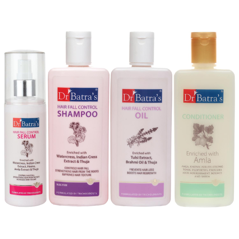 Dr Batra's | Dr Batra's Hair Fall Control Serum-125 ml, Conditioner - 200 ml, Hair Fall Control Oil- 200 ml and Hair Fall Control Shampoo - 200 ml