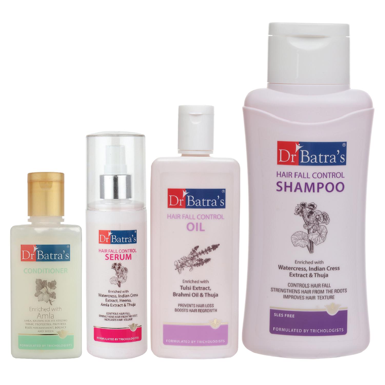 Dr Batra's | Dr Batra's Hair Fall Control Serum-125 ml, Conditioner - 100 ml, Hair Fall Control Oil- 200 ml and Hair Fall Control Shampoo - 500 ml
