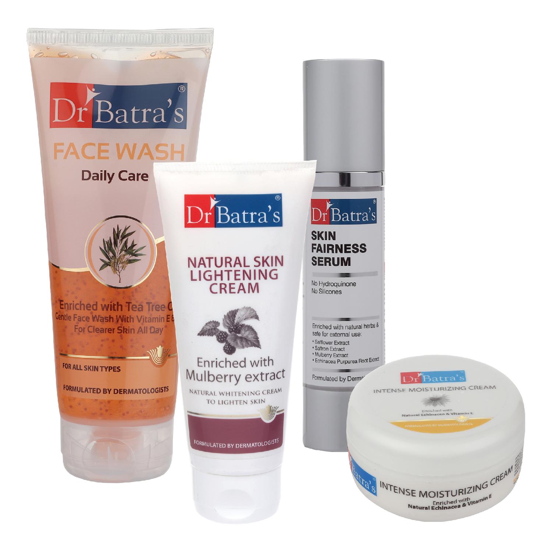 Dr Batra's | Dr Batra's Skin Fairness Serum - 50 G, Face Wash Daily Care - 200 gm, Natural Skin Lightening Cream - 100 gm and Intense Moisturizing Cream -100 G (Pack of 4)
