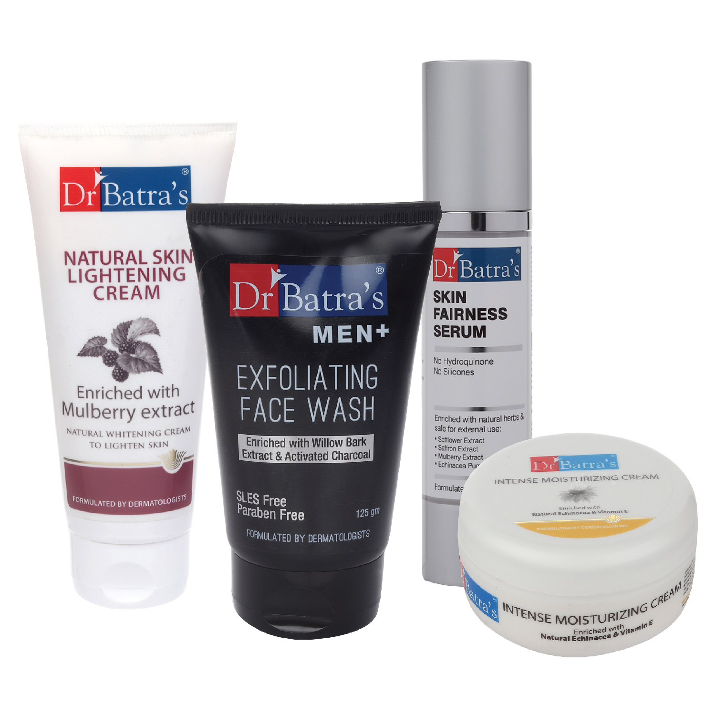 Dr Batra's | Dr Batra's Skin Fairness Serum - 50 G, Men+ Exfoliating Face Wash - 125 G,Natural Skin Lightening Cream - 100 gm and Intense Moisturizing Cream -100 G (Pack of 4)