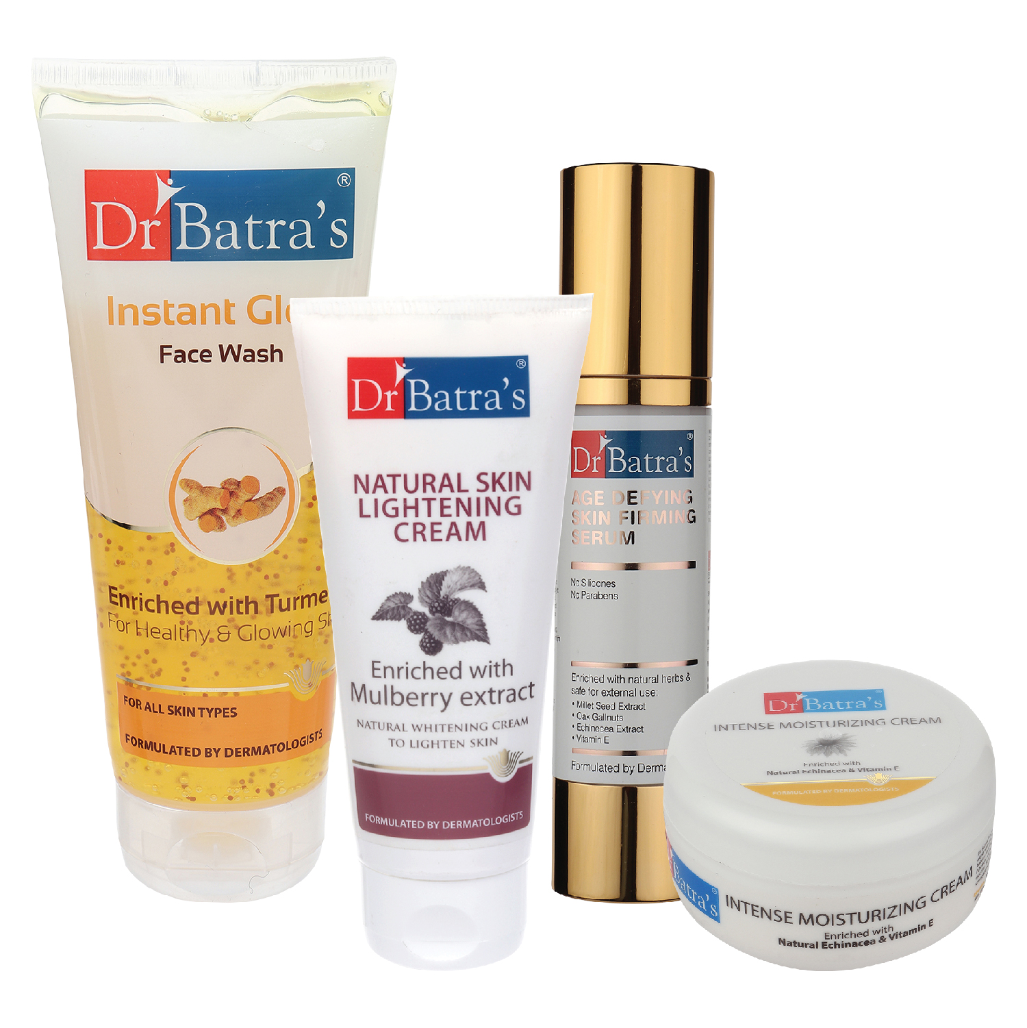 Dr Batra's | Dr Batra's Age Defying Skin Firming Serum - 50 G, Face Wash Instant Glow - 200 gm, Natural Skin Lightening Cream - 100 gm and Intense Moisturizing Cream -100 G (Pack of 4)