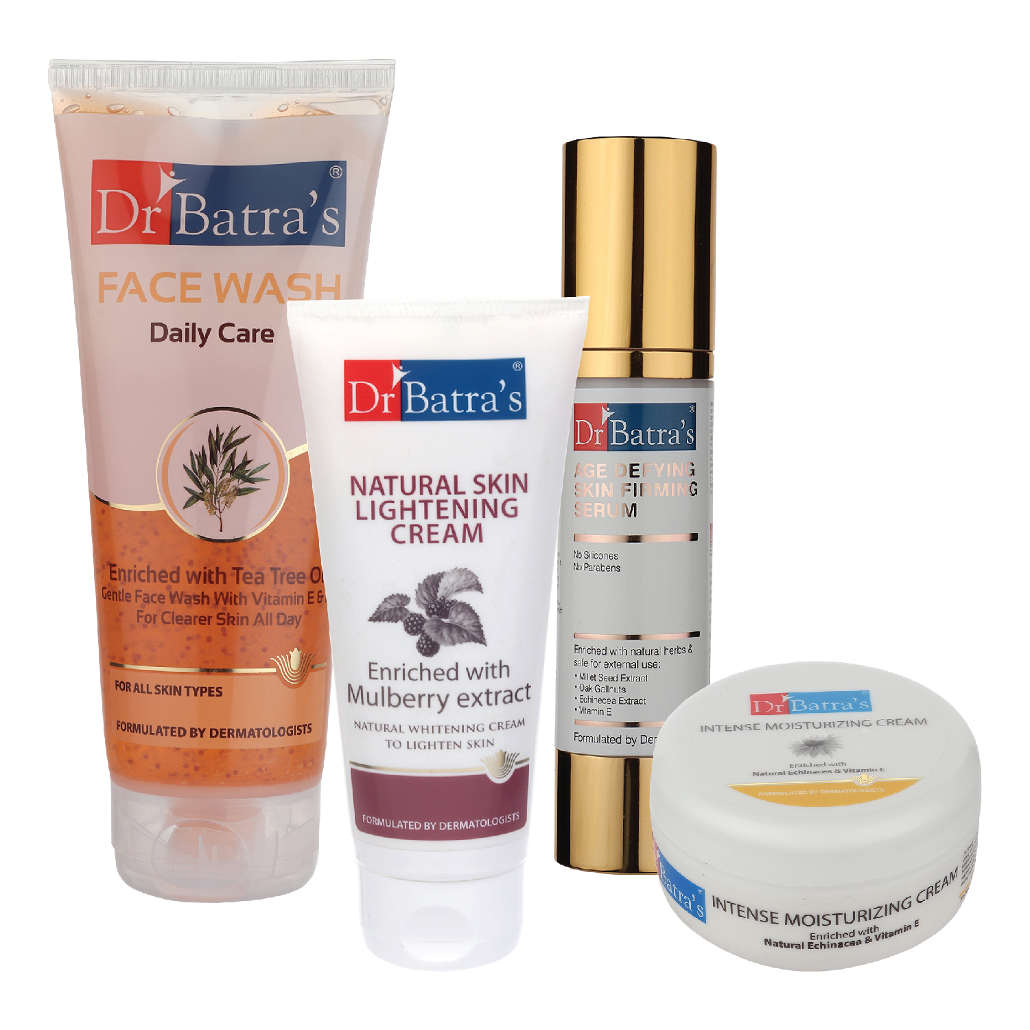 Dr Batra's | Dr Batra's Age Defying Skin Firming Serum - 50 G, Face Wash Daily Care - 200 gm, Natural Skin Lightening Cream - 100 gm and Intense Moisturizing Cream -100 G (Pack of 4)