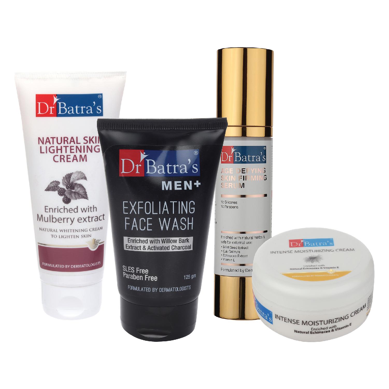 Dr Batra's | Dr Batra's Age Defying Skin Firming Serum - 50 G, Men+ Exfoliating Face Wash - 125 G, Natural Skin Lightening Cream - 100 gm and Intense Moisturizing Cream -100 G (Pack of 4)