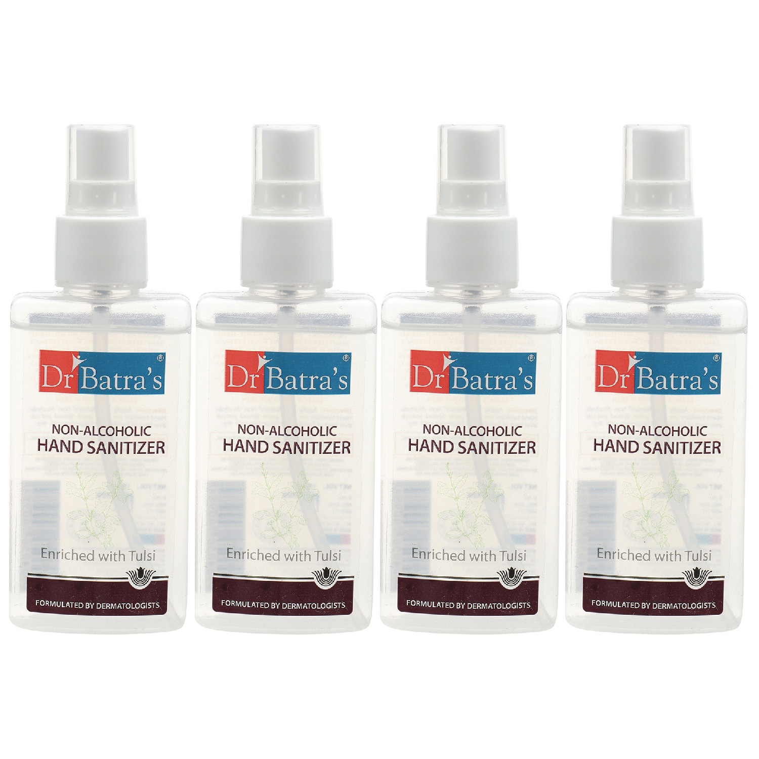 Dr Batra's | Dr Batra's Non Alcoholic Hand Sanitizer|Enriched With Tulsi|Kills 99.9% Germs|Stay Home, Stay Safe - 100 ml (Pack of 4)