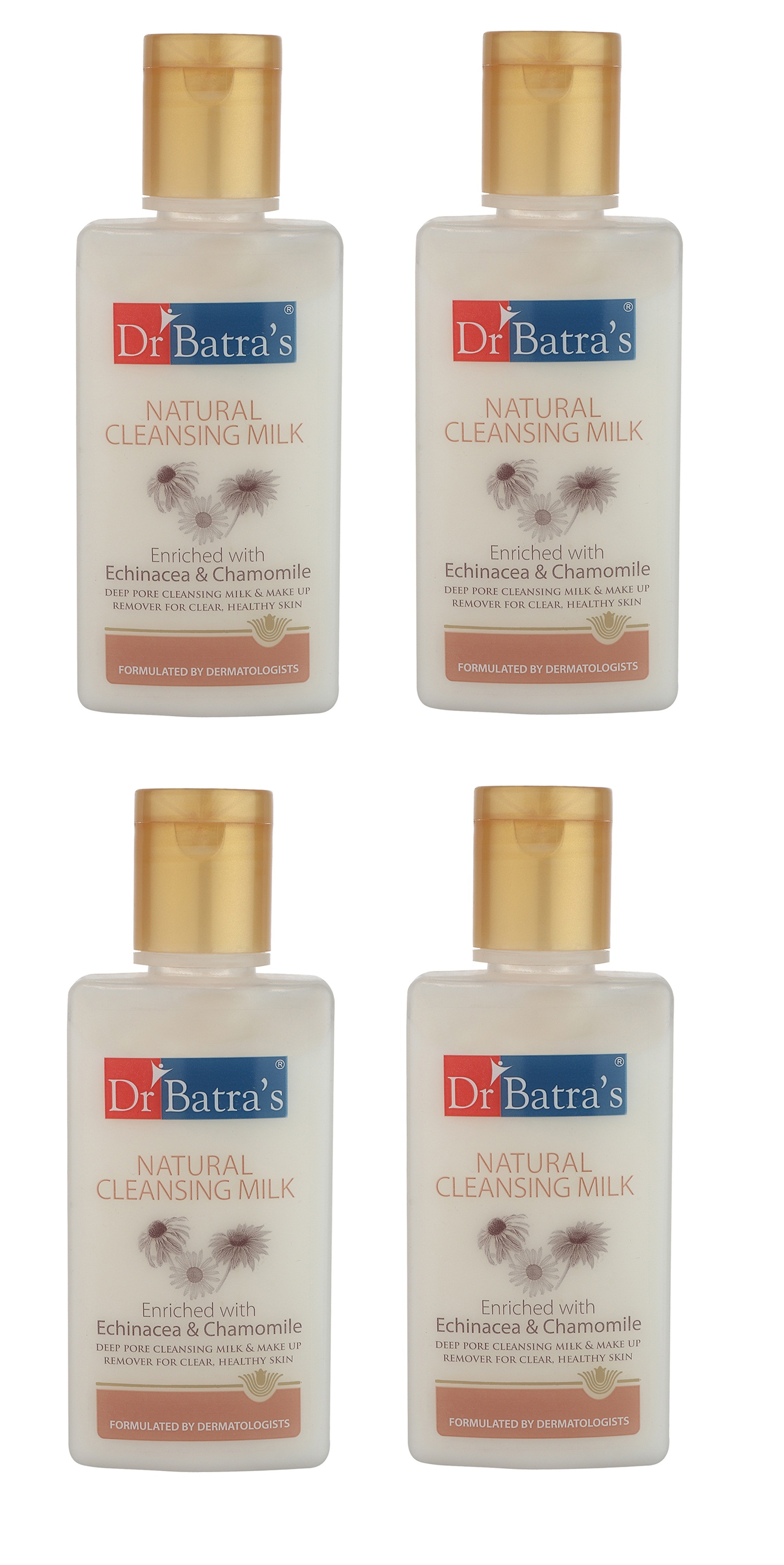 Dr Batra's | Dr Batra's Natural Cleansing Milk Enriched With Echinacea & Chamomile - 100 ml (Pack of 4)
