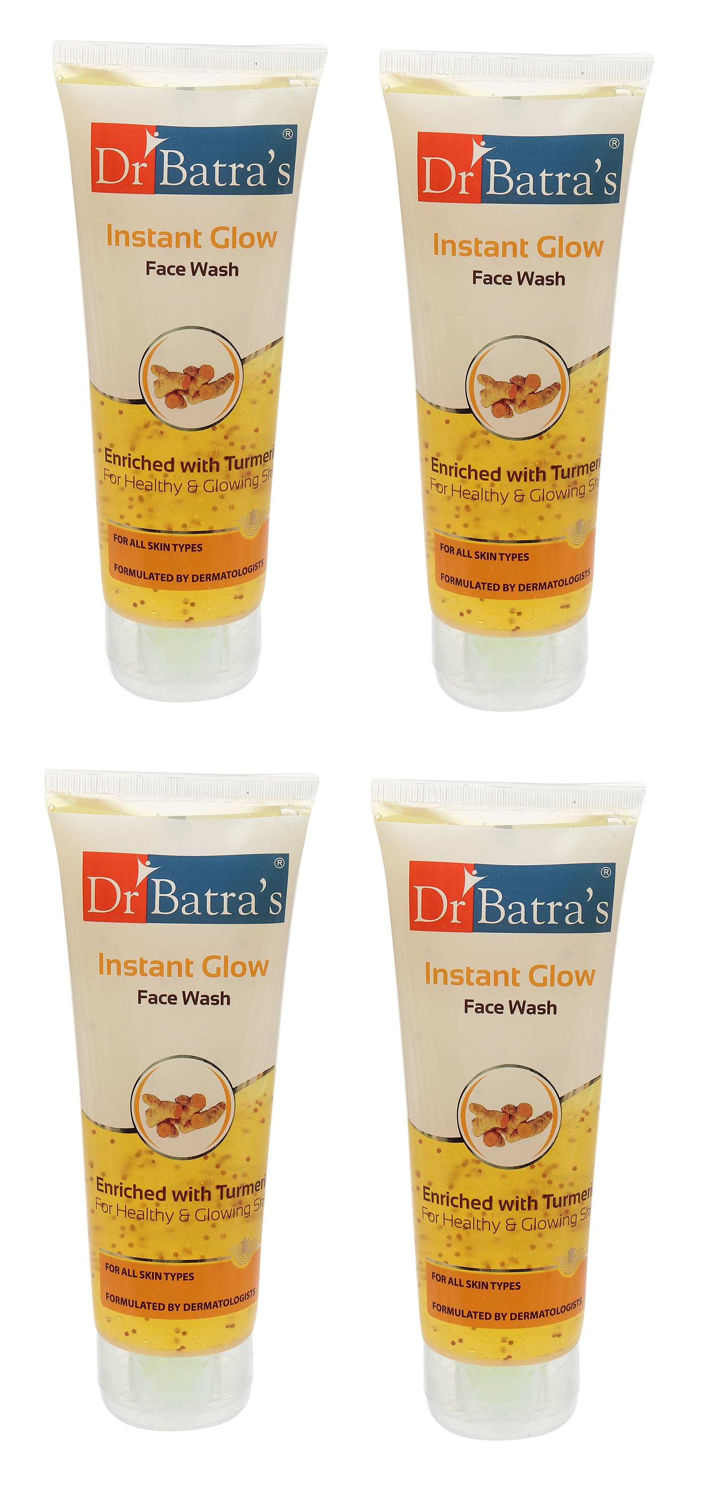 Dr Batra's | Dr Batra's Instant Glow Face Wash Enriched With Tumeric For Healthy & Glowing Skin - 100 gm (Pack of 4)
