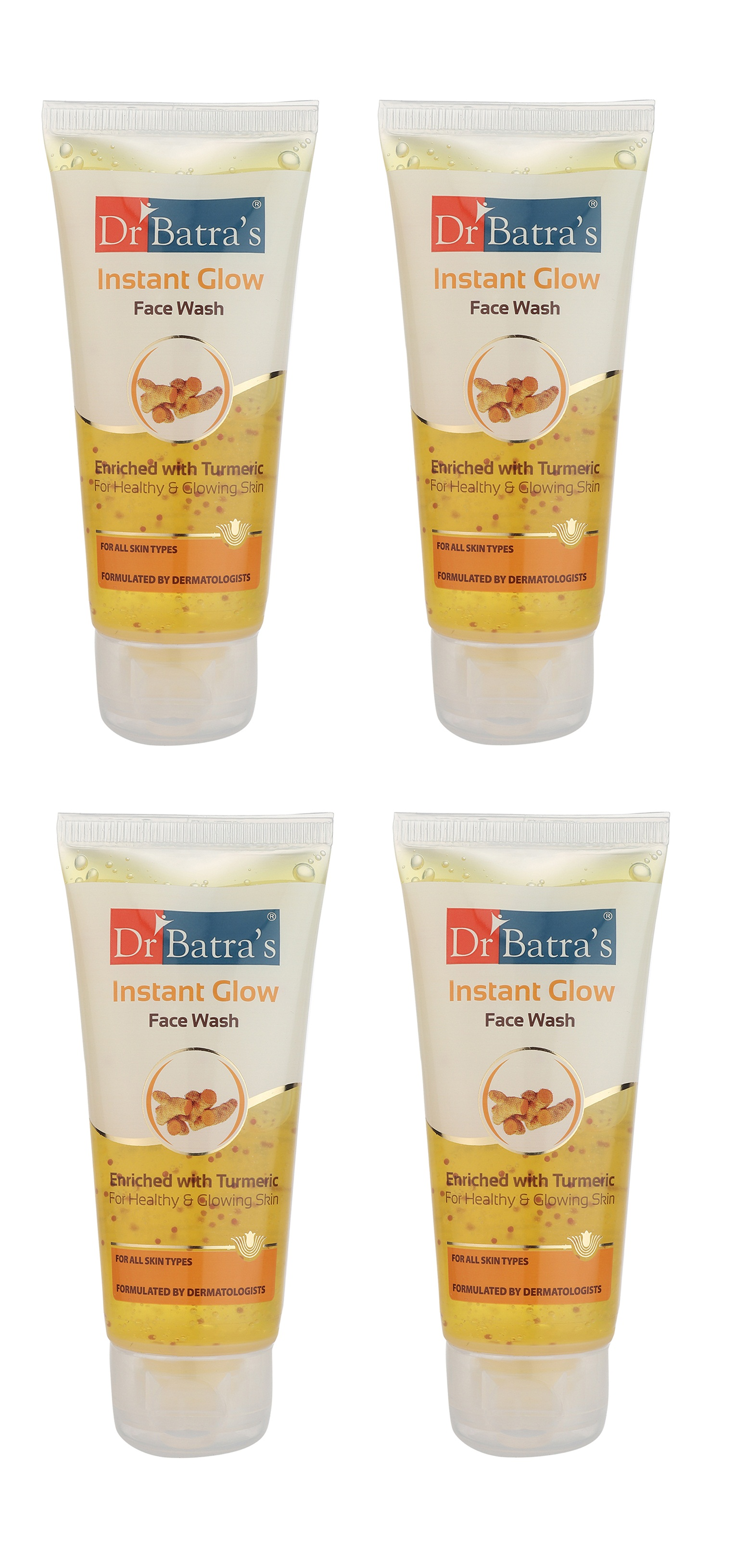 Dr Batra's | Dr Batra's Instant Glow Face Wash Enriched With Tumeric For Healthy & Glowing Skin - 50 gm (Pack of 4)