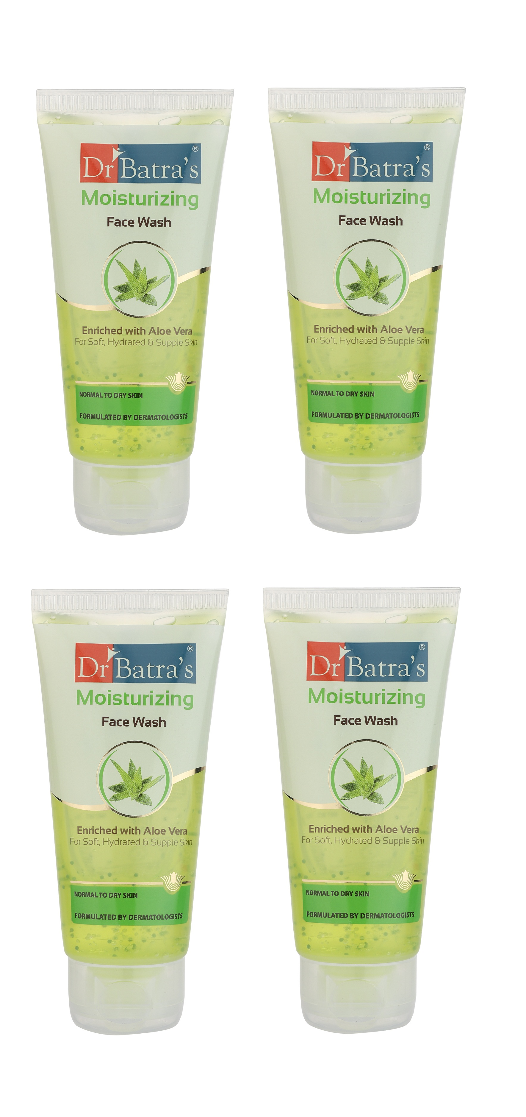 Dr Batra's | Dr Batra's Moisturizing Face Wash Enriched With Aloe Vera Soft, Hydrated & Supple Skin - 50 gm (Pack of 4)