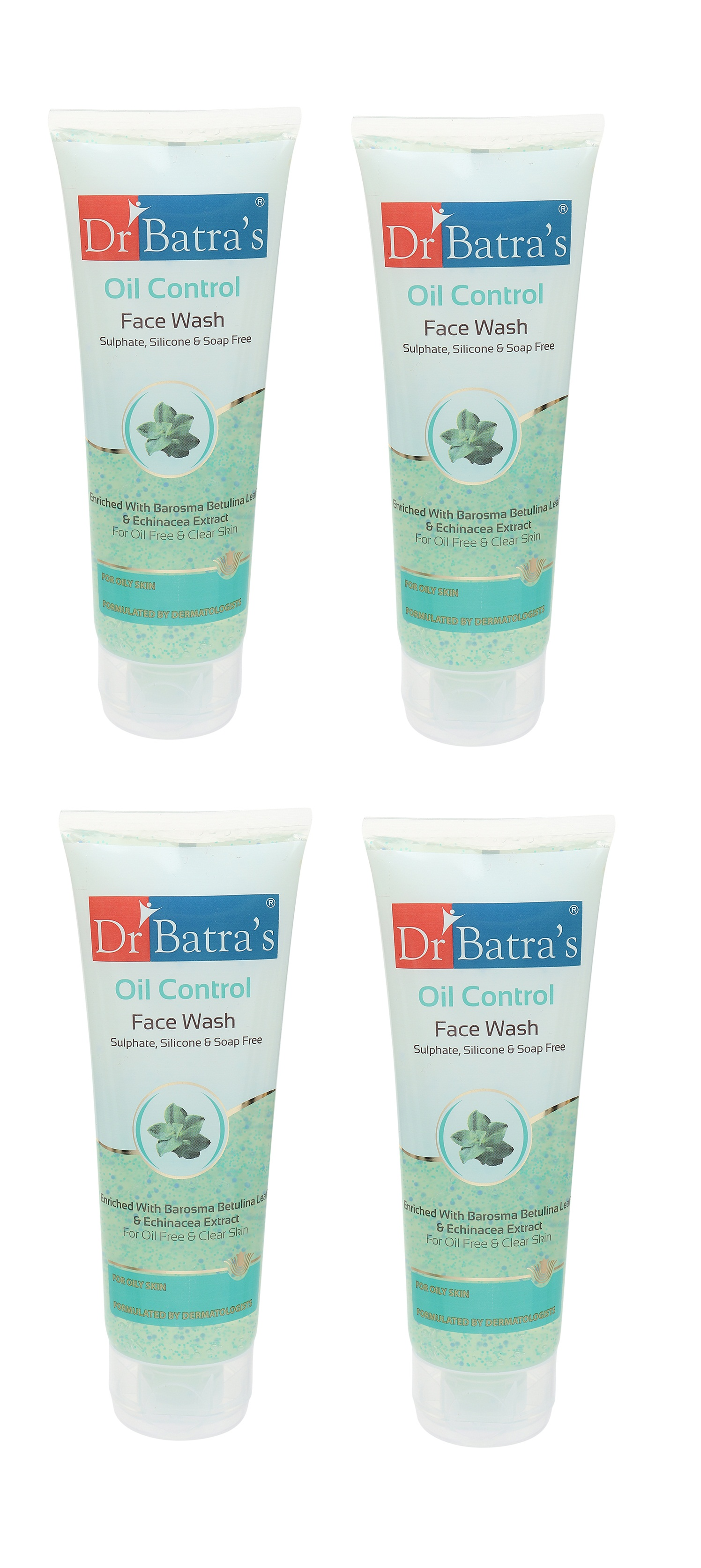 Dr Batra's | Dr Batra's Oil Control Face Wash Sulphate, Silicone & Soap Free Enriched With Barosma Betulina Leaf & Echinancea Extract For Oil Free & Clear Skin - 100 gm (Pack of 4)