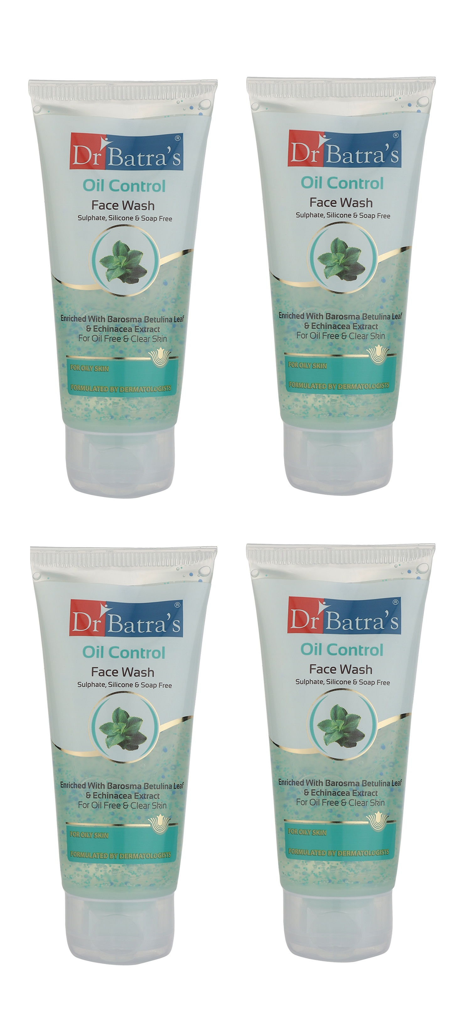 Dr Batra's | Dr Batra's Oil Control Face Wash Sulphate, Silicone & Soap Free Enriched With Barosma Betulina Leaf & Echinancea Extract For Oil Free & Clear Skin - 50 gm (Pack of 4)