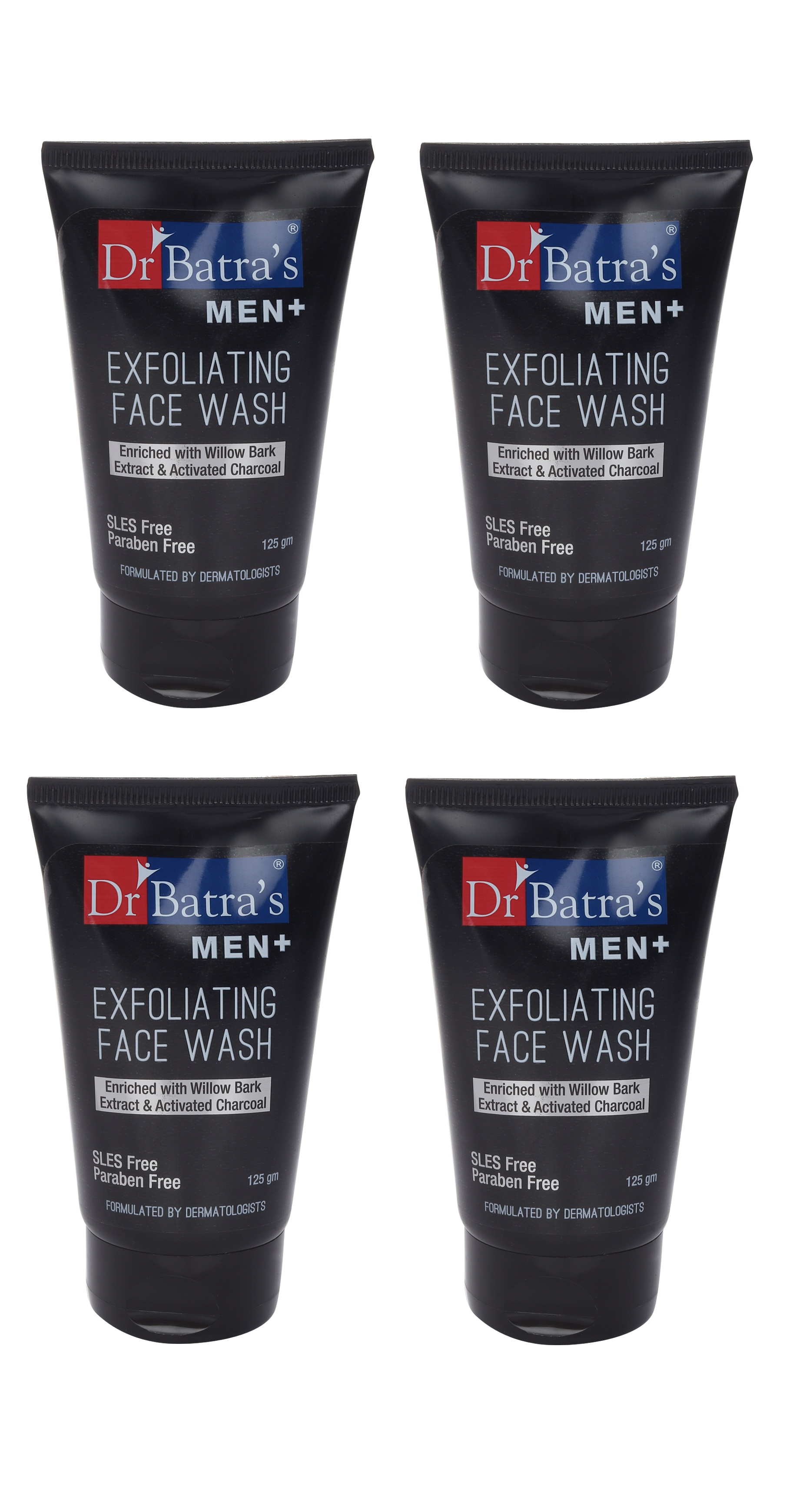 Dr Batra's | Dr Batra's Men+ Exfoliating Face Wash Enriched With Willow Black Extract & Activated Charcoal - 125 ml (Pack of 4)